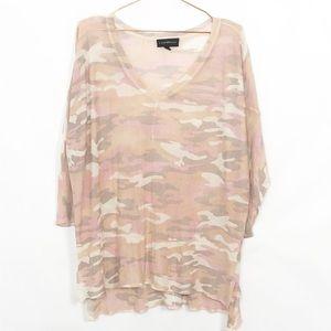 Lane Bryant Pink Camo 3/4 Sleeve Top Sheer 18/20